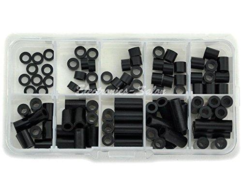 Electronics-Salon Black Nylon Round Spacer Assortment Kit, Not Threaded for M4 Screws, Plastic. OD 7mm, ID 4.1mm, L 2mm 4mm 5mm 6mm 8mm 10mm 12mm 16mm 18mm 21mm.