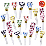 ArtCreativity Blow Outs Whistles - Party Pack of 36 Musical Blowouts Noisemakers - Fun Assorted Colors, Birthday Party Supplies and Favors for Kids and Adults, Goody Bag and Piñata Fillers