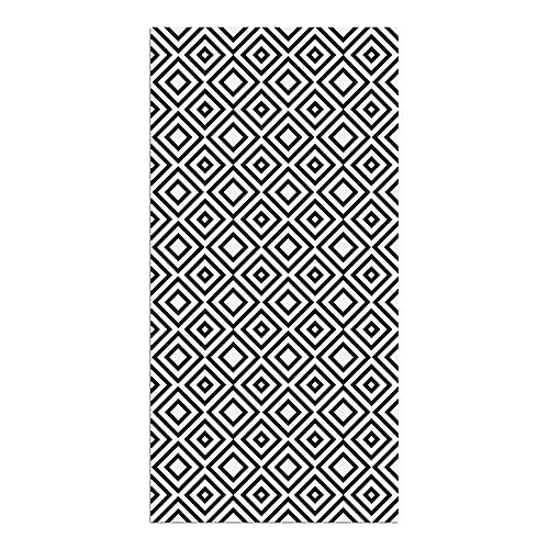 Alfombra Vinílica, Cuadriláteros, 180 x 90 x 0.2 cm, Color Negro y Blanco, ALV-029