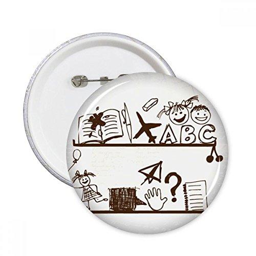 Papieren Vliegtuig Kinderen Leuke Handgetekende Illustratie Boekenplank College Ronde Pinnen Badge Knop Kleding Decoratie Gift 5 stks M