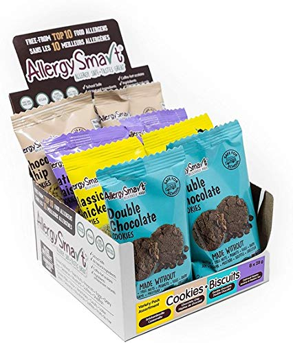Allergy Smart Cookie - Safe for School, Nut Free, Plant Based Organic Snacks - Dairy Free, Gluten Free Delicious Ingredients - 28g Units, 8 Individual Wrapped Units, 336g Total (Sampler)