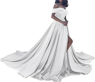 Amore Bridal Vintage Princess Off Shoulder Wedding Dress Satin Slit Evening Prom Gown