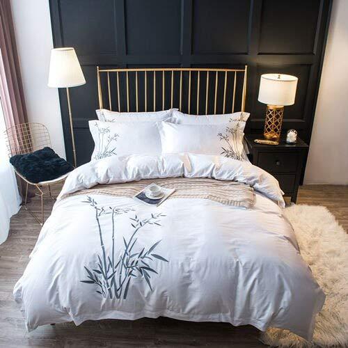 RONGXIE Wit Bamboe beddengoed sets Borduren bed set dubbele twin queen king size dekbed bed set kussensloop