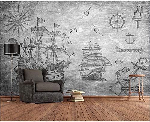 Photo Wallpaper Non-Woven Art Poster 320X230Cm Vintage Gray Nautical Theme Sailing Boat Wall Murals Decoration