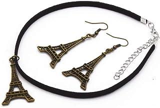 Placcato bronzo antico Parigi Torre Eiffel Collana Goccia Orecchini in Pelle Nero Vintage Retrò Pendente Choker Set Gioiel...