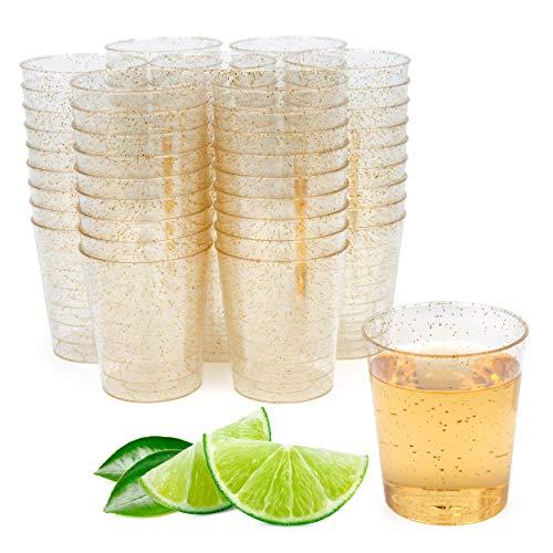 Matana 100 Vasos de Chupito Transparentes de Plástico Duro con Brillo Dorado, 60ml - Vasos para Shots - Resistente y Reutilizable.