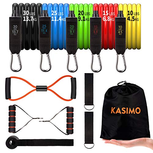 KASIMO Bandas Elásticas de Resistencia para Gimnasio en Casa,Elásticos de Fitness para Mantenerse en Forma Física en el Hogar o Actividades al Aire Libre,12 pcs