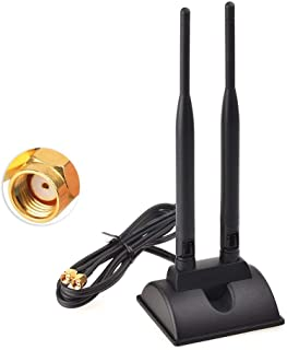 Eightwood Dual WiFi Antenna with RP-SMA Male Connector, 2.4GHz 5GHz Dual Band Antenna Magnetic Base for WiFi Wireless Rout...