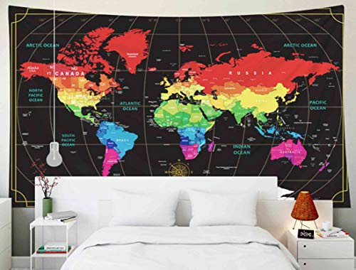 Capsceoll World Map Wall Tapestry, Wall Hanging Decor Wall Art Hanging Dorm World Map Large Wall Map Cool World Map Decorative Wall Art Travel Wall Decor 80X60 Inches,Black Red