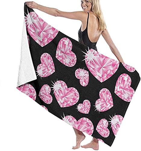 Toalla de Playa Grande 80x130cm,Piedras Románticas Corazón Rosa,Toalla Microfibra,Suave,Absorbente Viaje Toallas de Mano de Hombres,Niños,Natación,Playa,Camping