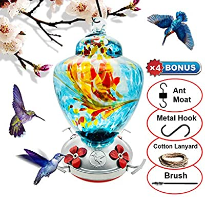 REZIPO Hummingbird Feeder with Perch - Hand Blown Glass - Orange - 38 Fluid Ounces Hummingbird Nectar Capacity Include Hanging Wires and Moat Hook