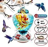 REZIPO Hummingbird Feeder with Perch - Hand Blown Glass - Blue - 38 Fluid Ounces Hummingbird Nectar...
