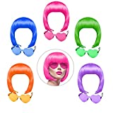 KUUQA 10 Pieces party wigs and sunglass set, neon short bob wig sunglass pack costume colorful cosplay wig daily party hairpieces for bachelorette neon party favors, Halloween and decorations