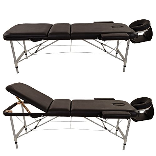 Merax Aluminium 3 Section Portable Folding Massage Table Facial SPA Tattoo Bed WF015763BAA