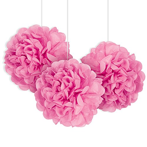Unique Party 64216 - 23cm Small Hot Pink Tissue Paper Pom Poms, Pack of 3
