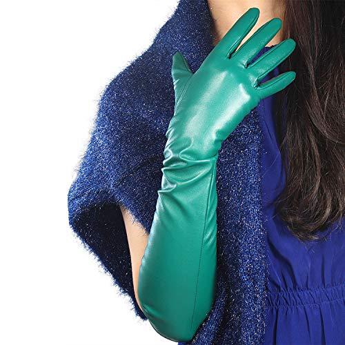 DooWay Women Long Gloves Faux Leather Over Elbow Length 20-inch PU Winter Warm Full Finger Gloves (Kelly Green)