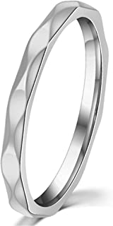 Women 2mm Wave Prismatic Pattern White Gold Ring Engagement Wedding Lady Finger Thin Stainless Steel Band
