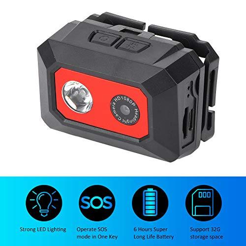 Buitensportcamera, HD 1080P nachtzichtcamera met hoofdhouder, antislip kleinformaat camera voor reizen buitenshuis / extreme sporten, 2-in-1 design koplampen, nachtlichtfunctie