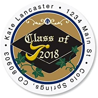 Congrats Graduation Round Return Address Labels - Set of 144 1-1/2 diameter Self-Adhesive, Flat-Sheet labels