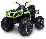 Mondial Toys Moto ELETTRICA per Bambini Super Quad Lander 12V ATV con Ammortizzatori Full Optional Nero