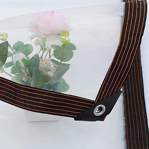 N / A Tarp Sheet Cover Pergola Transparent Tarp, Waterproof Clear Tarpaulin with Grommets, Durable Anti-Tear Plant Greenhouse Plastic Film, 120g/m²(Size:6×8m)