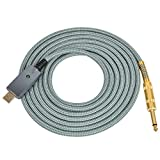 USB Guitar Cable, USB Male to 6.35mm 1/4 Inch TS Mono Guitar Converter Cable, Electric Bass Guitar Cord Computer Audio Connector Cord Adapter - 3M, Gold