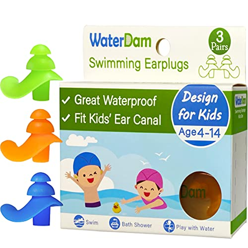 WaterDam Ear Plugs for Swimming Kids – 3 Pairs Soft Silicon Earplugs for Child Reusable Great Waterproof !!! Prevent Swimmer's Ear