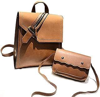 TOOGOO Pu Leather Backpack Female Fashion School Backpack Girl Backpack Brown Retro Backpack Light Brown