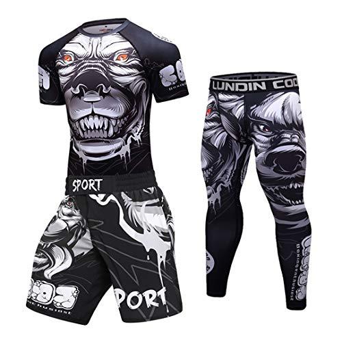 Conjunto de Boxeo Jersey + Pantalones Kickboxing Apretada Camiseta del Deporte Pantalones Muay Thai MMA Juego de Gimnasia de compresión Hombres 17 XL