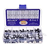 BOJACK 10 valores 180 piezas 1uF ~ 1000uF SMD Kit de surtido de condensadores electrolíticos de aluminio