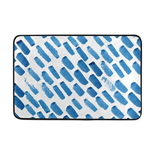 FANTAZIO deurmatten voor ingang weg buiten Blauwe Borstel Schilderij Ruimte Tapijt Rechte Tapijt Gripper Voor Keuken/Badkamer 23.6x15.7in