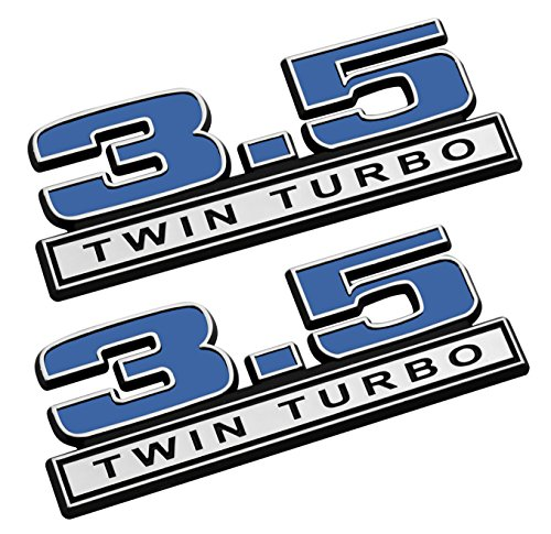 3.5 Twin Turbo Emblems in Blue and Chrome - Pair