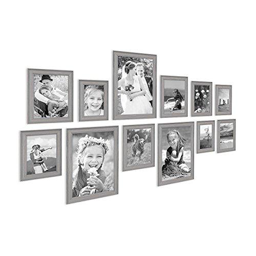 PHOTOLINI 12er Set Bilderrahmen Skandinavischer Landhaus-Stil Grau-Braun 10x15 bis 20x30 cm inklusive Zubehör/Fotorahmen/Wechselrahmen