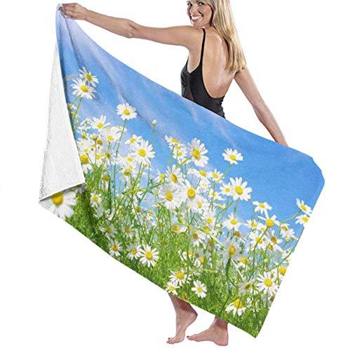 tyui7 Daisy Flower Sea Bath Towel Wrap Toallas de baño de Microfibra Suave Toalla de Playa para Hombres Mujeres, 80x130 cm