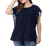 Women's Summer Plus Size Ruffle Sleeve Shirt Top Polka Dot Chiffon Blouse(Navy,XX-Large)