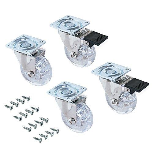 Emuca 2036020 Set 4 STK. transparente Lenkrollen für Möbel 2 ohne Bremse Diameter 50mm mit Anschraubplatte und Kugellager