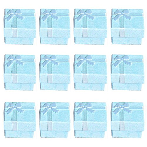 WOVELOT 12 Stück Blauschmuck Ringe Ohrringe Armreif Geschenkboxen Cutely Kleine Geschenkbox