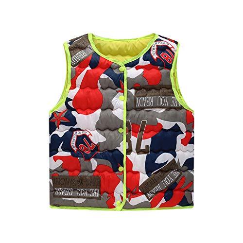 Posional Parka Manteaux à Capuche - Unisexe Enfant Bébé Haut sans Manches Camouflage Chaud Décontracté Costumes Impression Dessin animé Chaud Pas Cher Barboteuse Sweat-Shirts,3-4Ans,Rouge