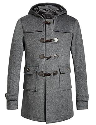 SSLR Men's Winter Thermal Wool Blend Hooded Toggle Coat