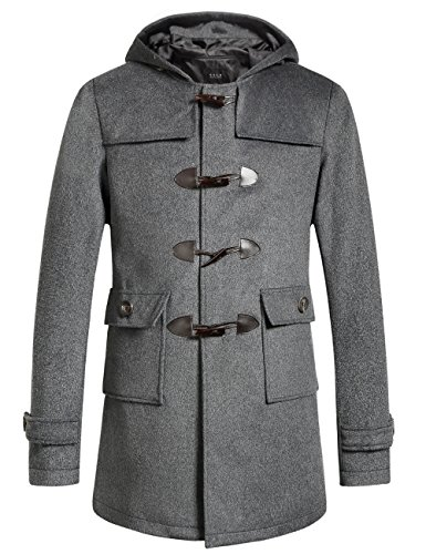SSLR Herren Dufflecoat Wollmantel Wintermantel mit Kapuze Holzknöpfen aus Wollmischung (XX-Large, Grau)
