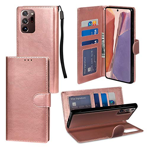 Jelanry Note 20 Ultra Case, Note 20 Ultra Wallet Case with Card Holder 2 in 1 Protective Shell Shockproof Cover Non-Slip Bumper PU Leather Flip Case for Samsung Galaxy Note 20 Ultra 5G Rosegold