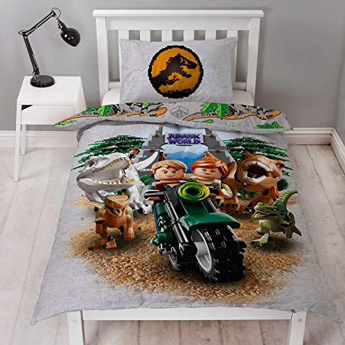 LEGO - Jurassic World - Funda de edredón para Cama Individual, diseño de T Rex Reversible de Dos Caras con Licencia Oficial, Funda de Almohada a Juego, de poliéster, Multicolor