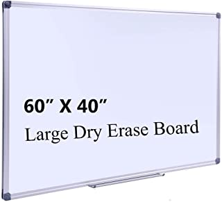 DexBoard Large 60 x 40-in Magnetic Dry Erase Board with Pen Tray| Wall-Mounted Aluminum Message Presentation Memo White Bo...
