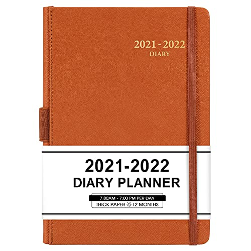 2021-2022 Appointment Book & Planner - Daily Hourly Planner 2021-2022 from Jul 2021 - Jun 2022, 5.75' X 8.25', 60-Minute Interval, Faux Soft Leather Cover, Premium Paper, Pen Loop, Inner Pocket, Brown
