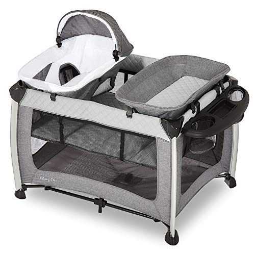 Dream On Me Princeton Deluxe Playard I Nap 'N pack I Play Yard I Infant Bassinet I Compact Fold I Removeable Changing Table I Removable Napper, Grey