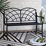 Modern Black Metal Arch Back 4 Foot Garden Bench Outdoor Porch Patio Seating 47.2L x 22W x 37.75H in.