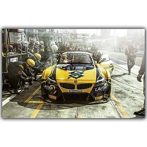 QWESFX Gelbe Sportwagen-Rennmalerei Katzenmalereien auf Leinwandgemälden Set gestreckte Leinwand für Gemälde für Schlafzimmer (Druck ohne Rahmen) A4 50x100CM