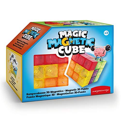 Magic Magnetic Cube, un Juego de, concentración y agudeza Mental, una diversión para Amantes de retos. Contiene 7 Piezas 3D magnéticas Transparente y Tarjetas con 108 retos a Construir.