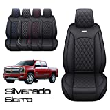 Silverado Sierra 2 Front Seat Covers Pickup Custom Fit 2007-2021 1500 2500HD 3500HD Crew Double Extended Cab Waterproof Leather Seat Protectors(2 PCS Front, Black-Red )