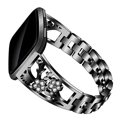 XIALEY Correa De Joyería Compatible con Fitbit Versa/Versa 2 / Versa Lite, Banda De Repuesto De Metal Mujer Niñas Rhinestone Acero Inoxidable Pulsera De Accesorios Compatible con Versa,Negro